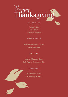 Red and White Thanksgiving Menu Flyer Thanksgiving Menu