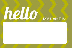 Green Zig Zag Pattern Name Tag Pattern Design