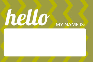 Green Zig Zag Pattern Name Tag Navneskilt