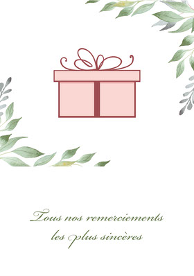 Cream Foliage Gift Sincere Thanks Card A5 Carte de remerciement