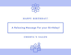 Violet and White Happy Birthday Card Massage Flyer