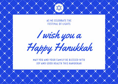 Blue and White Happy Hanukkah Card Hannukkah