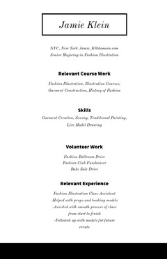 Black and White Professional Resume Educational Course
