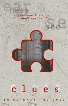 Grey and Red Clues Movie Poster Scary