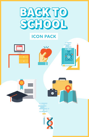 Blue With Subjects Icons Back To School Poster póster escolar