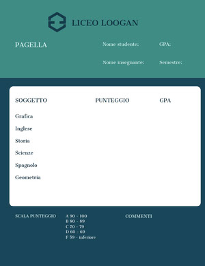 teal and blue report cards  Rapporto