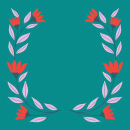 Blue, Red and Pink Minimalistic Floral Frame Instagram Post Artists Collection: Adobe Spark Stylemakers