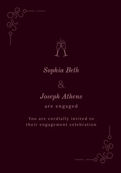 Pink and Claret Engagement Party Invitation Christmas Invitation