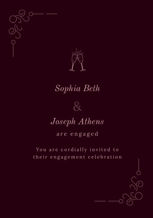 Pink and Claret Engagement Party Invitation Kihlausilmoitus