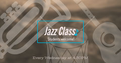 Beige Jazz Class Facebook Ad with Instruments Music Lessons Flyer