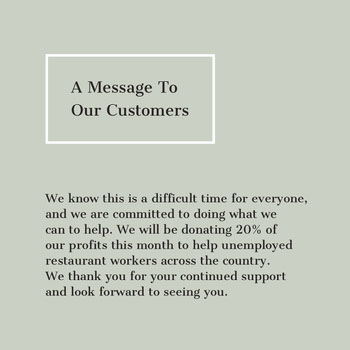 Sage Green Simple Customer Update Message COVID-19 Re-opening