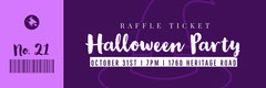 Violet and White Halloween Trick Or Treat Party Raffle Ticket Holiday Party Flyer