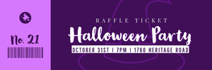Violet and White Halloween Trick Or Treat Party Raffle Ticket Boleto de sorteo
