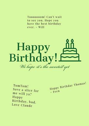 Green Shareable Group Birthday Card Group Birthday Card