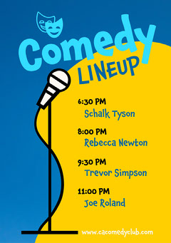 Blue and Yellow Comedy Lineup Agenda Flyer A5 Comedy