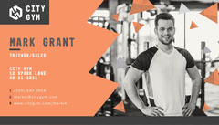 Orange and Black City Gym Business Card  Personal Trainer Flyer