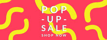 Yellow and Red Pop Up Sale Banner Portada de Facebook