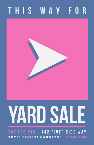 Pink and Blue Arrow Yard Sale Directional Flyer Pink Flyers