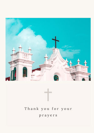 White and Blue Thank You Card Baptism Thank You Card