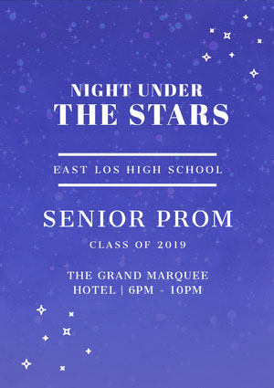 WHite and Blue Senior Prom Poster Prom Posters