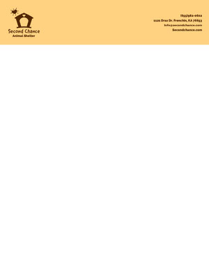 Yellow Illustrated Animal Shelter Letterhead Carte intestate