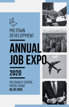Blue and Gray Job Expo Event Flyer Job Poster