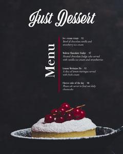 Black Dessert Restaurant Menu with Gourmet Cake Photo Dessert
