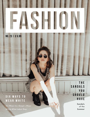 White and Grey Fashion Magazine Cover Magazine Cover for Vogue