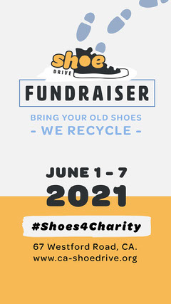 Black and Yellow Shoe Drive Instagram story square Fundraiser