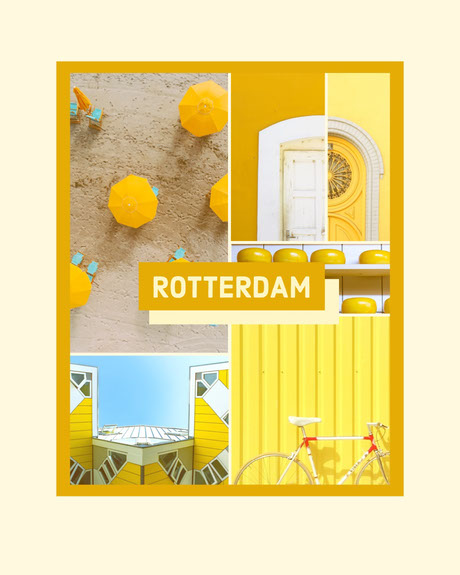 White and Yellow Rotterdam Social Post Photo Collage