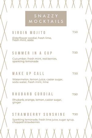 Beige Mocktails Restaurant Menu Drink Menu