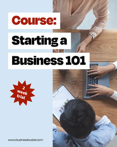 blue white red black start your own business course trial instagram portrait  Conference Flyer