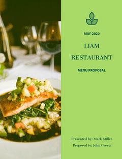 Green Restaurant Menu Business Proposal with Gourmet Meal Photo Restaurants