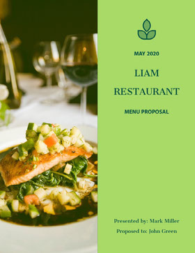 Green Restaurant Menu Business Proposal with Gourmet Meal Photo Offerta