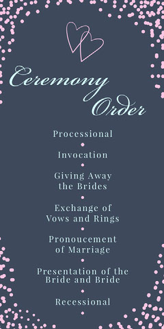 Pink and Blue Hearts Calligraphy Wedding Program Heart