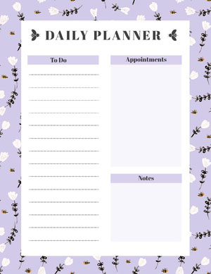 Purple Floral Daily Planner with To Do List Agenda giornaliera
