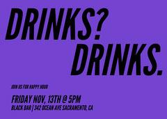 Purple Modern Happy Hour Invitation Drink