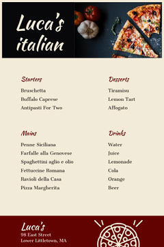White Luca's Italian Menu Pizza