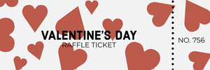 Red Heart Valentine's Day Raffle Ticket Boleto de sorteo
