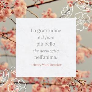 La gratitudine <BR>è il fiore <BR>più bello che germoglia<BR>nell'anima.  Poster motivazionali