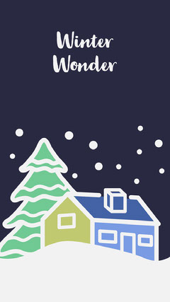 Illustrated Winter Smart Phone Wallpaper with Tree and House Trees