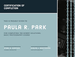 Navy Photography Certification of Completion Photography