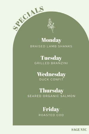 Green Arched Weekly Menu Weekly Menu
