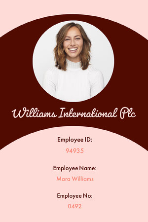 Pink and Brown Employee ID Card with Photo of Woman Tarjeta de identificación