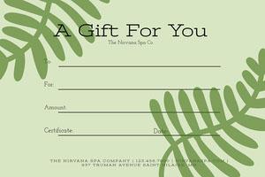 Green Botanical Massage Gift Certificate Zertifikat