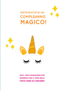 invited to a magical unicorn birthday cards Biglietto di compleanno