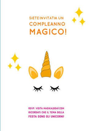 invited to a magical unicorn birthday cards Invito a una festa