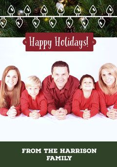 Red, White and Green Family Christmas Card Christmas