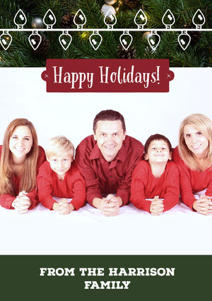 Red, White and Green Family Christmas Card Kerstkaart