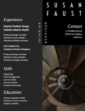 Black and White Interior Designer Resume Currículo criativo